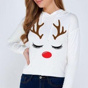 Reindeer Hoodie T-shirt Top